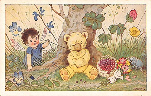 Fantasy Fairy Teddy Bear Beatle Flowers Artist Signed Antique Postcard J68588