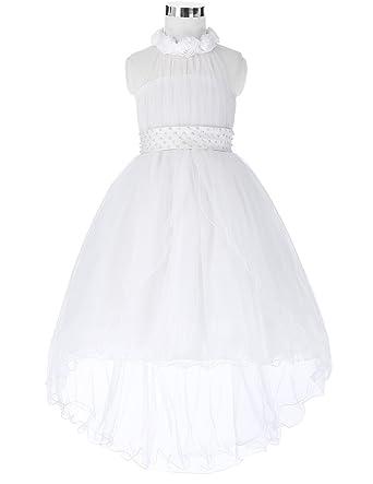 2c8483989 Amazon.com: ylovego High Low Flower Girl Dress 2018 New Arrival Holy First  Dresses Halter Neck Wedding White Flower Girl Dresses for Kids: Clothing