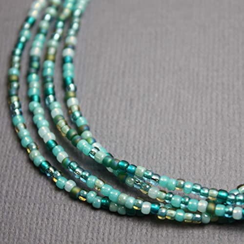 d3be14191503f Blue Green Seed Bead Necklace, Blue Green Single Strand Beaded Necklace