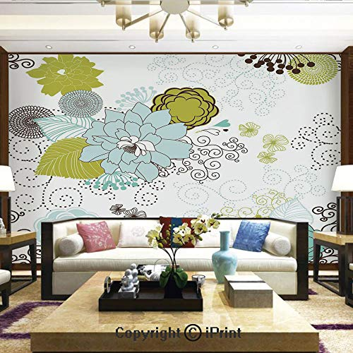 Lionpapa_mural Self-Adhesive Large Wallpaper Better Designs for Living Room,Pastel Pattern Romantic Ornament Components Petals Leaves Swirls Decorative,Home Decor - 66x96 inches