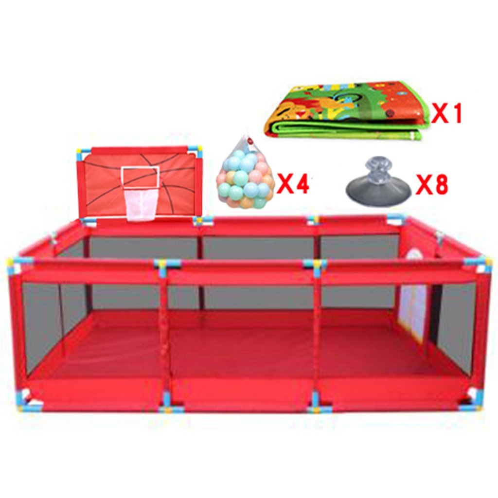Large Baby Playpen with with Basketball Hoop/Balls Foldable Kids Play Pens 10 Panel Children Activity Center Room Fitted Floor Mats, Red