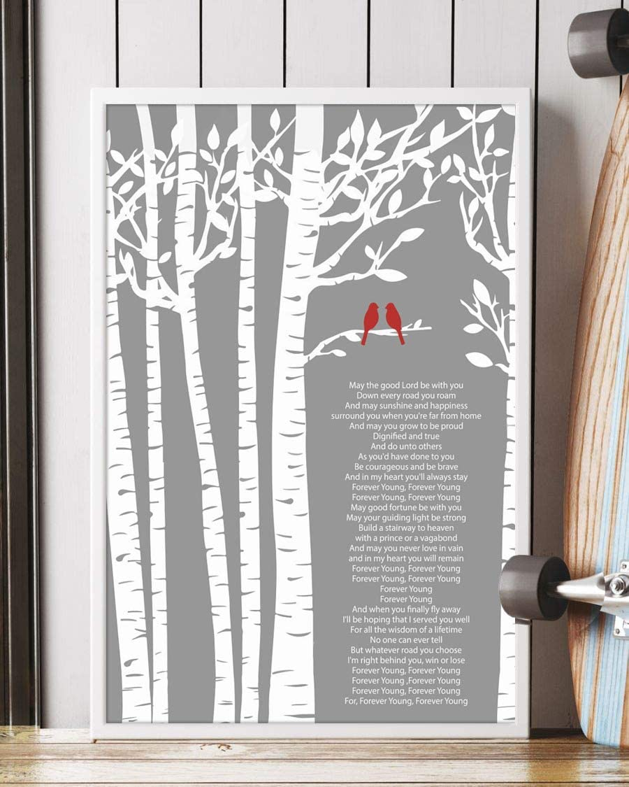 Amazon Com Trendora Decor Forever Young Song Lyrics Portrait Poster Print 12 X 18 Posters Prints