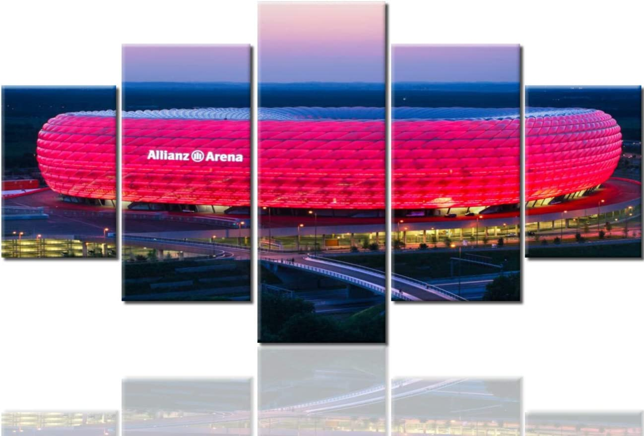 Large Wooden Wall Decor Allianz Arena Pictures Football Stadium in Munich, Bavaria,Germany,Europe Painting 5 Panel Canvas Art Artwork Home Decorations for Living Room Framed Ready to Hang(60''Wx32''H)