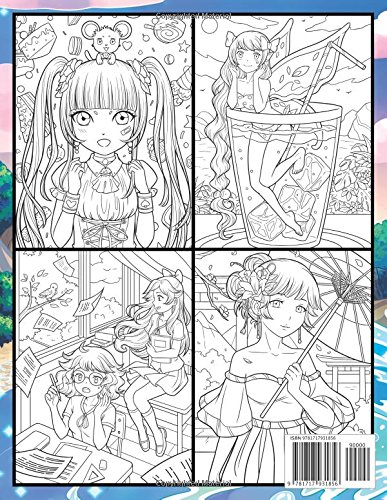 Anime Coloring Book An Adult Coloring Book With Cute Kawaii Girls