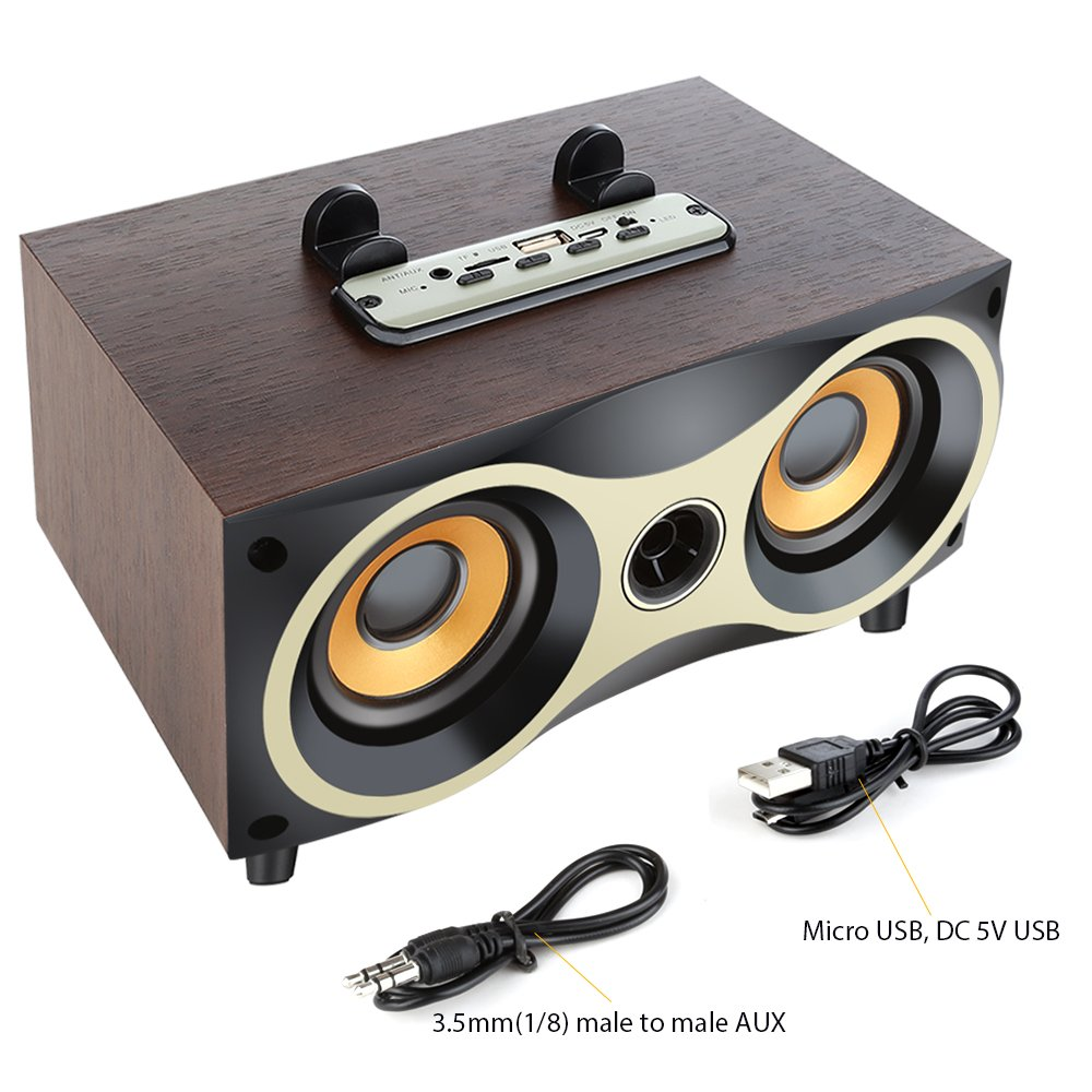 Desktop Portable Wooden Wireless Speaker Subwoofer Stero Bluetooth Speakers Support TF MP3 Player with FM Radio, Phone Holder for iPhone Android by Sysmarts (Image #4)