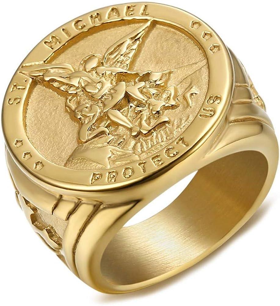 El Anillo de sellar el Hombre de San Miguel Arc/ángel de Protecci/ón de Acero Chapado en Oro Dorado BOBIJOO JEWELRY
