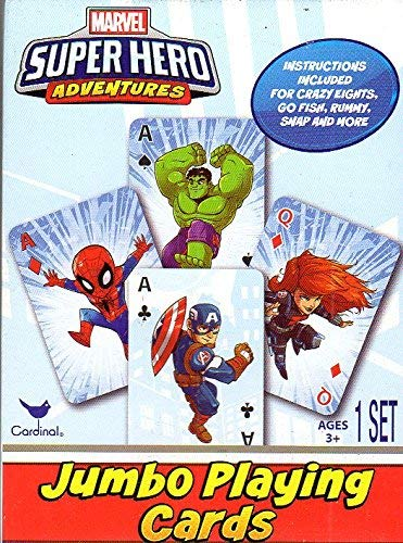 Marvel Super Hero Adventures - Jumbo Playing Cards - Classic card games Rummy, Go Fish, Snap, Crazy 8's and more! - Heroes Playing Cards