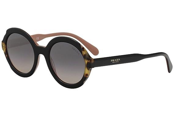 5b01ef8f19b18d Image Unavailable. Image not available for. Color  Prada SPR17U SPR 17U  5ZW GR0 Black Pink Medium Havana Oval Sunglasses