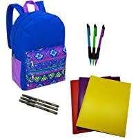 Tribal Backpack with Double Zippered Pocket 17 in Bundle with School Supplies