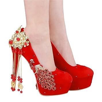 ccef101d6 Zapatos de Boda Chino Agua de Gamuza con Zapatos de Tacones Finos (con Alto