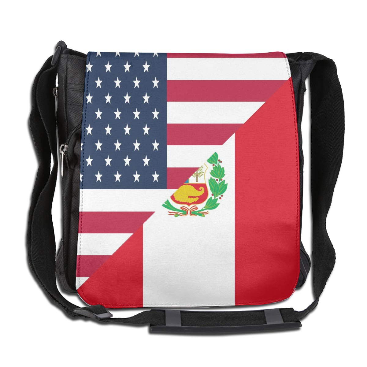 American And Peru Flag Crossbody Shoulder Bag Fashion Casual Daily Messenger Bag Satchel School Bag For Women And Men