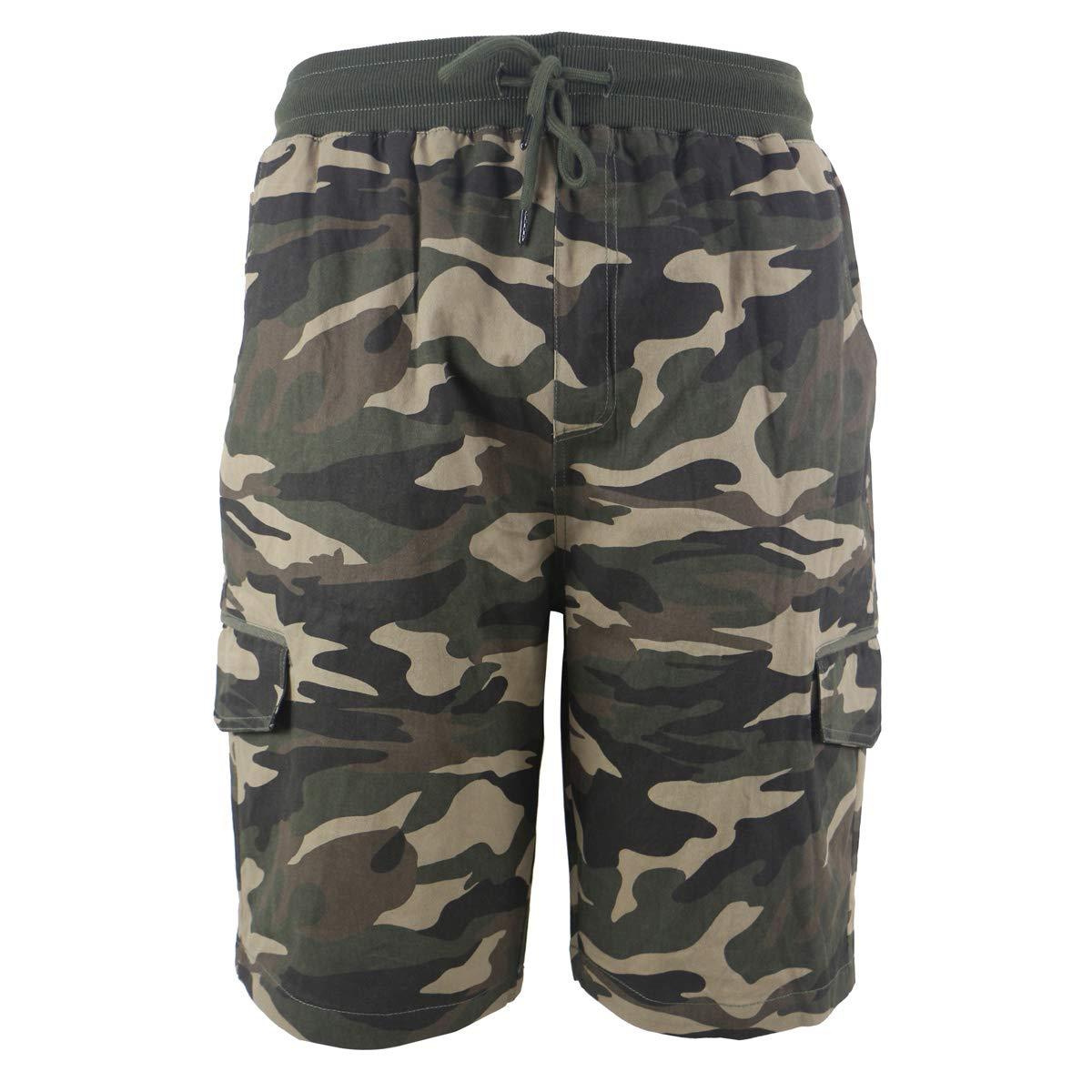 b56418ba16 Leehanton Mens Cargo Shorts Casual Elastic Waist Cotton Lightweight Multi  Pocket Short | Amazon.com
