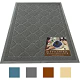 Kittycentric Jumbo (47.5 x 36 in) Cat Litter Box Mat with Scatter Control by Dark Grey