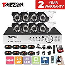 TMEZON 16CH AHD 1080P DVR Digital Video Recorder + 8x 1080P 2.0MP 2000TVL Outdoor Night Vision Bullet Camera Security Kit(1TB HDD)