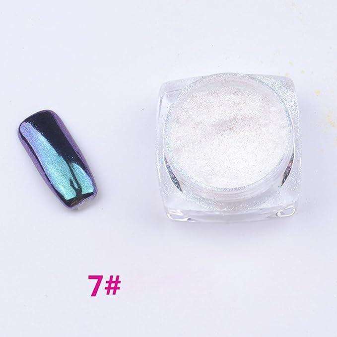 Demarkt Espejo Polvo De Uñas Efecto Cromo Pigmento Glitter Mirror Powder Nail Art Pincel (plato)