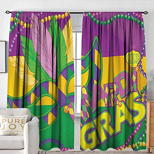 - Petpany Blackout Curtains Mardi Gras,Colorful Bands with Vivid Beads Feathers Mask and Crown Symbol, Magenta Lime Green Yellow,Rod Pocket Curtain Panels for Bedroom & Kitchen 100