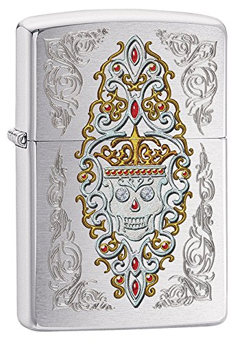 Zippo Brushed Chrome Jeweled Skull Pocket Lighter