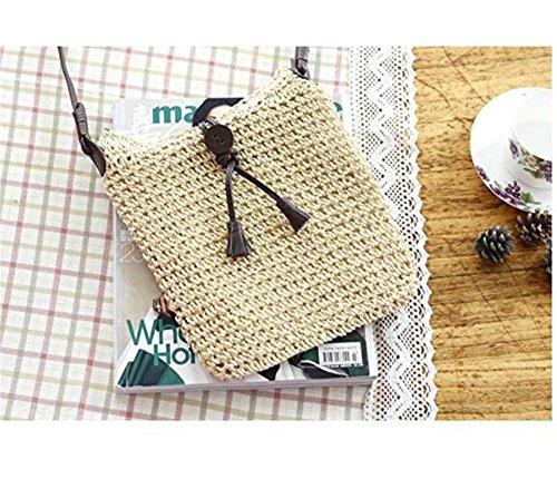 Purse Handmade Bag Vacation Beach Womens Crossbody Bag Shoulder Tote Handbag Crochet Retro Beige Woven Straw SXnx4zqd