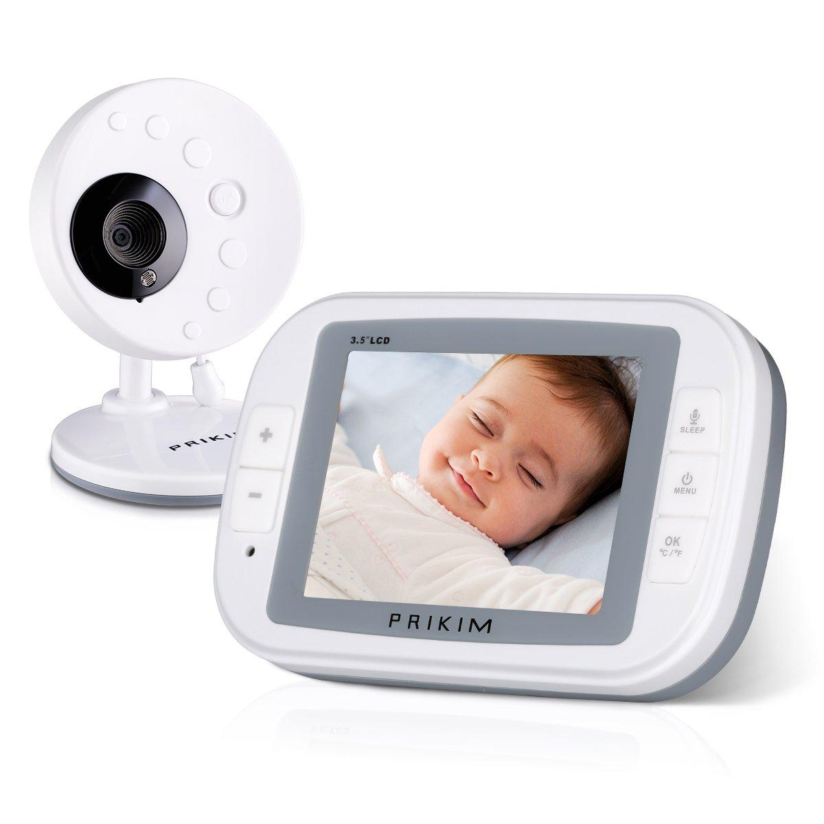 PRIKIM 2.4GHz Bébé Moniteur Sans Fil 3.5'' LCD Ecran Système d'Ecoute et de Communication Babyphone Caméra Audio et Bidirectionnel Berceuses Baby Vidéo Température Surveillance, Vision Nocturne