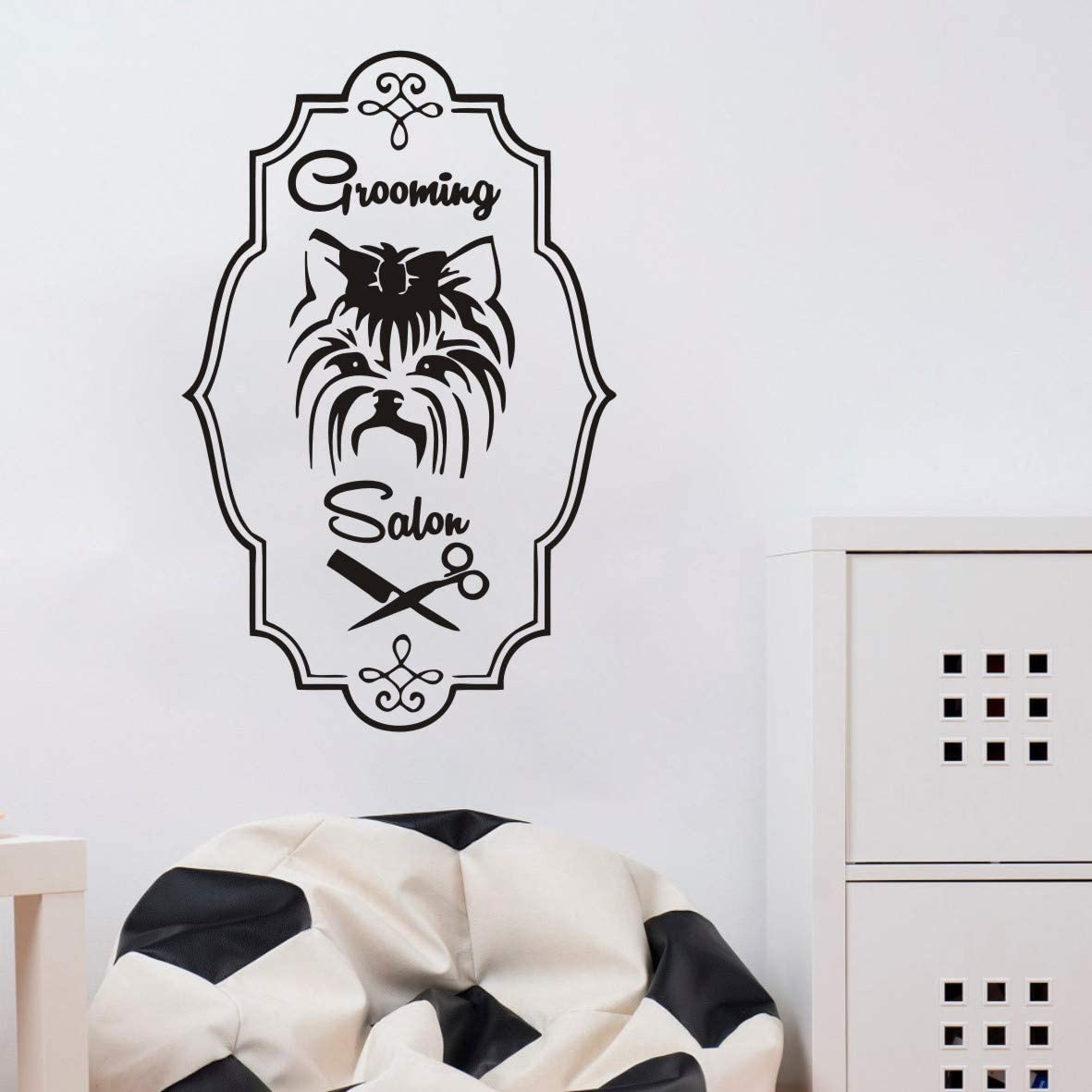 YOYOYU ART HOME DECOR Pet Shop Wall Decal Dog Grooming Salon Window Door Sticker Pets Beauty Salon Decoration Wall Vinyl Pet Grooming Logo Decal AY910 (Black, 57x36cm)