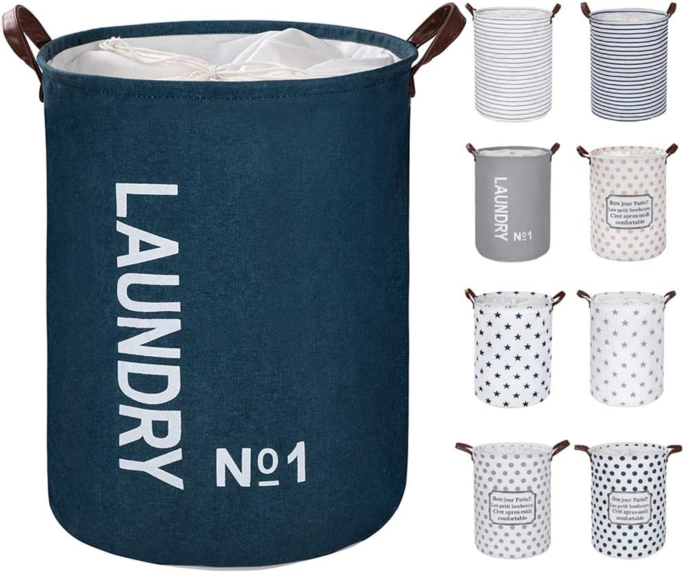 "FRIENDIY Large Laundry Hampers (9 Colors), Removable Laundry Basket, Foldable Fabric Laundry Basket, Drawstring Waterproof Round Cotton Linen Storage Basket. (Dark Blue, Thickened 19""/Large)"