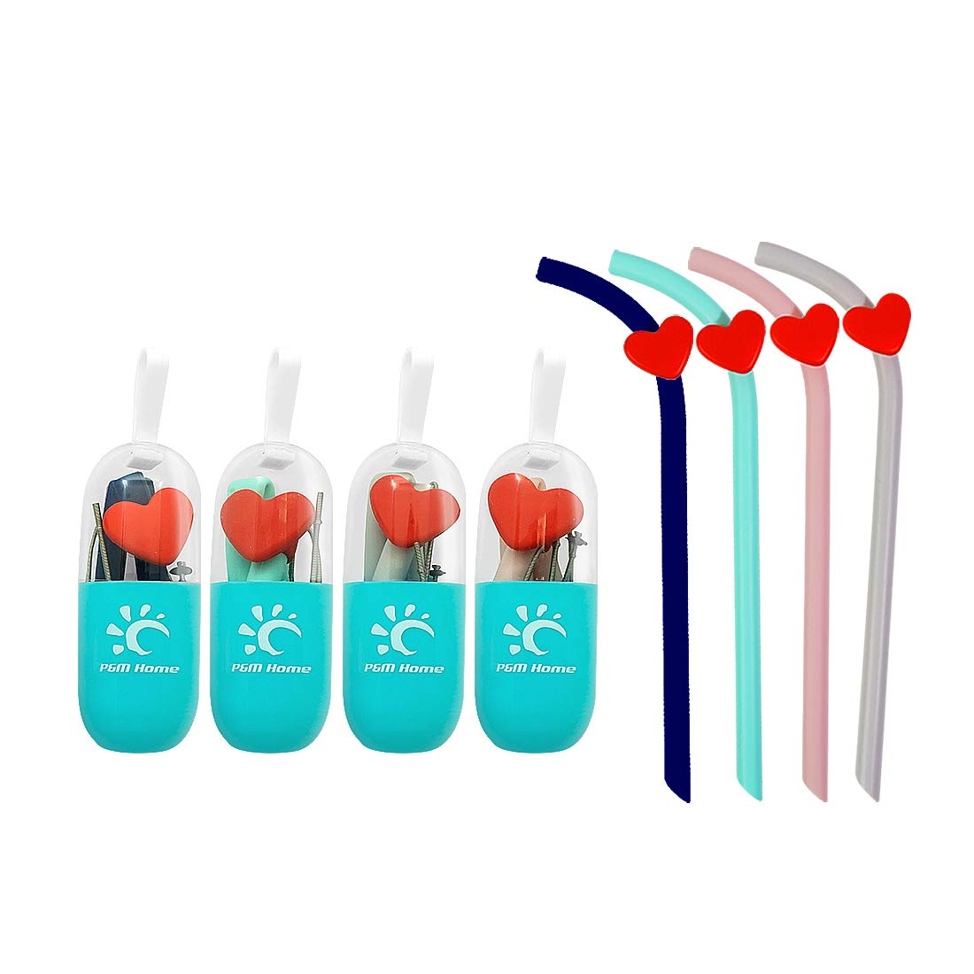 Silicone Reusable Drinking Straws, 4 Collapsible Straws with 4 Carrying Cases and 4 Cleaning Brushes, BPA Free, FDA Approved, Portable for Traveling, 4 Pack, 12 Pieces Set