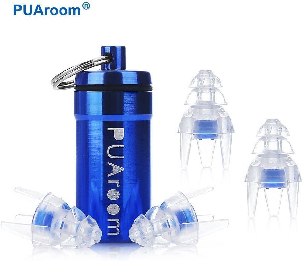 PUAroom Tapones auditivos de protección auditiva, 3 pares Tapones auditivos de silicona reutilizables con portador de aluminio, ideal para músicos, conciertos, festivales, clubes, bateristas