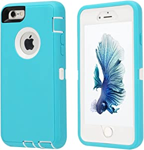 Co-Goldguard Case for iPhone 6/6s,Heavy Duty 3 in 1 Built-in Screen Protector Durable Cover Dust-Proof Shockproof Drop-Proof Scratch-Resistant Shell for Apple iPhone 6/6s 4.7 inch,Aqua Blue