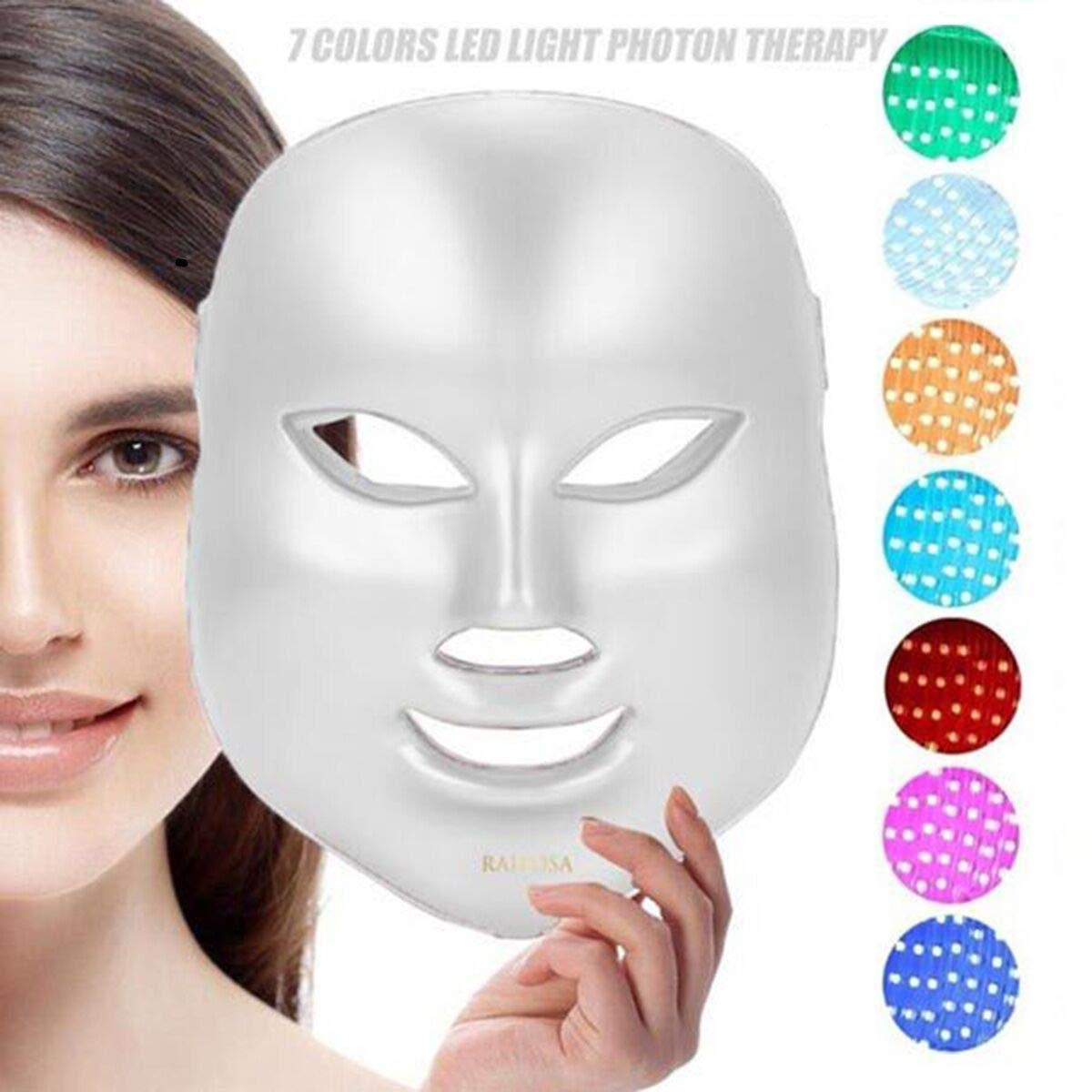 7 Color Facial Mask | Photon Face Skin Care System | Healthy Smooth Skin Rejuvenation | Anti-Aging, Tightening, Toning, Wrinkle Acne Treatment | Collagen Restoring & Whitening Device