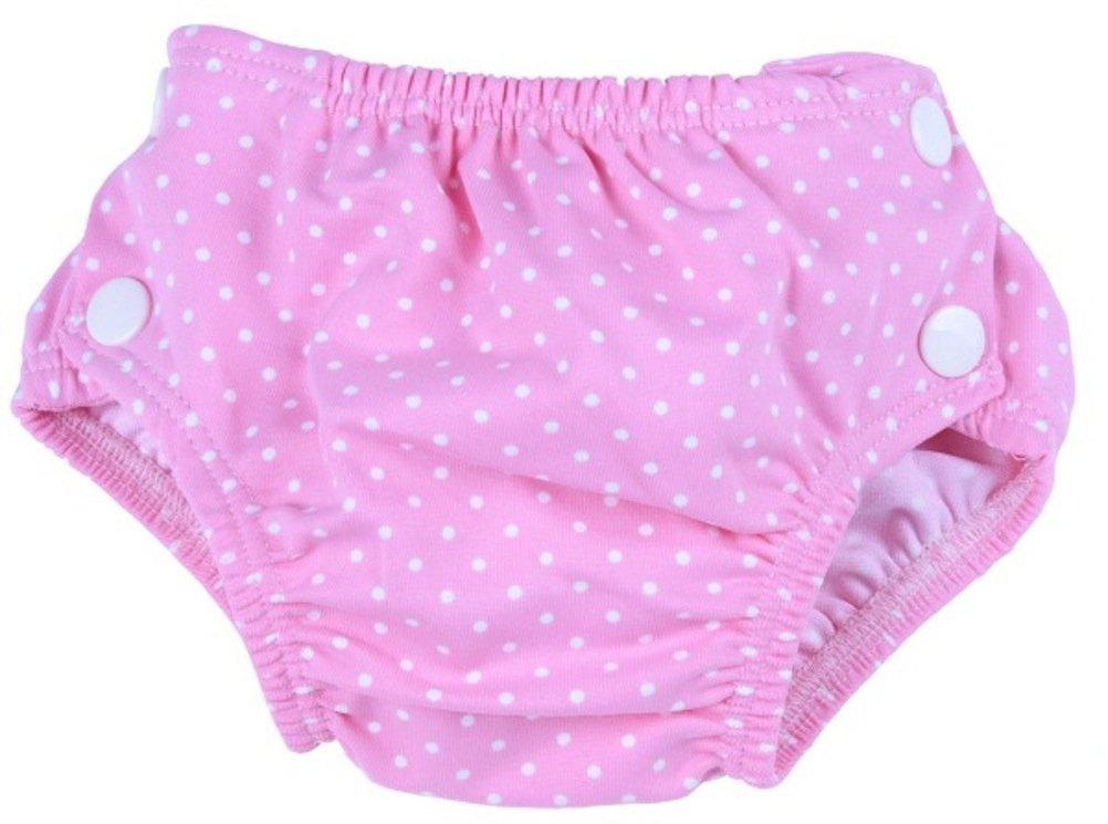 Maillot couche de piscine bébé motif rose à pois blancs- taille S - Popolini 9006720030250