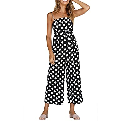 940613fcd995 Shinekoo Women Holiday Playsuit Strap Sleeveless Off Shoulder Polka Dot  Long Wide Leg Boohoo Beach Jumpsuit  Amazon.co.uk  Clothing