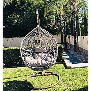 Hanging Egg Chair Tear Drop Resin Wicker With Cushion And Stand Indoor  Outdoor Patio Porch Furniture