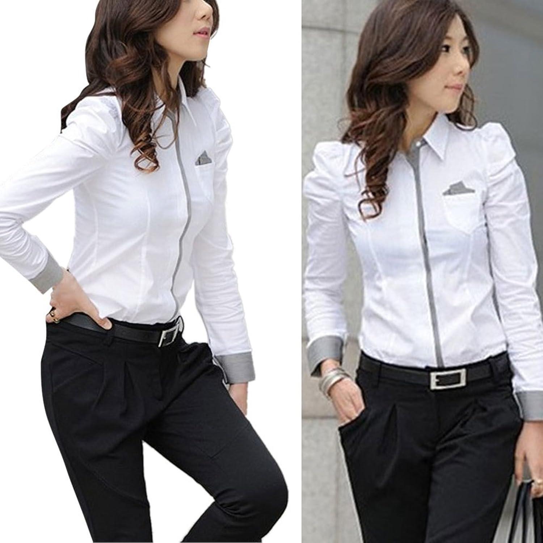 Hengzhi Women's Uniform Long Sleeve Office Shirts Button Down ...