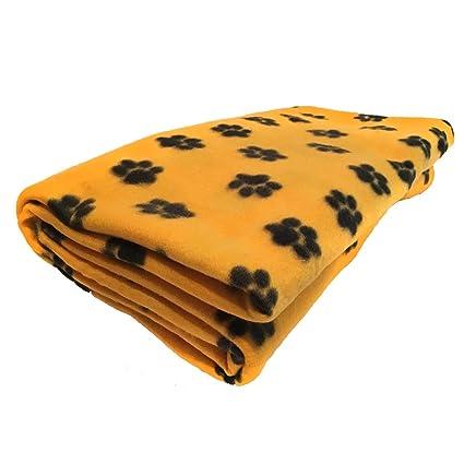Amazon Com Lovemyfabric Fleece Printed Paw Print Yellow Gold Throw
