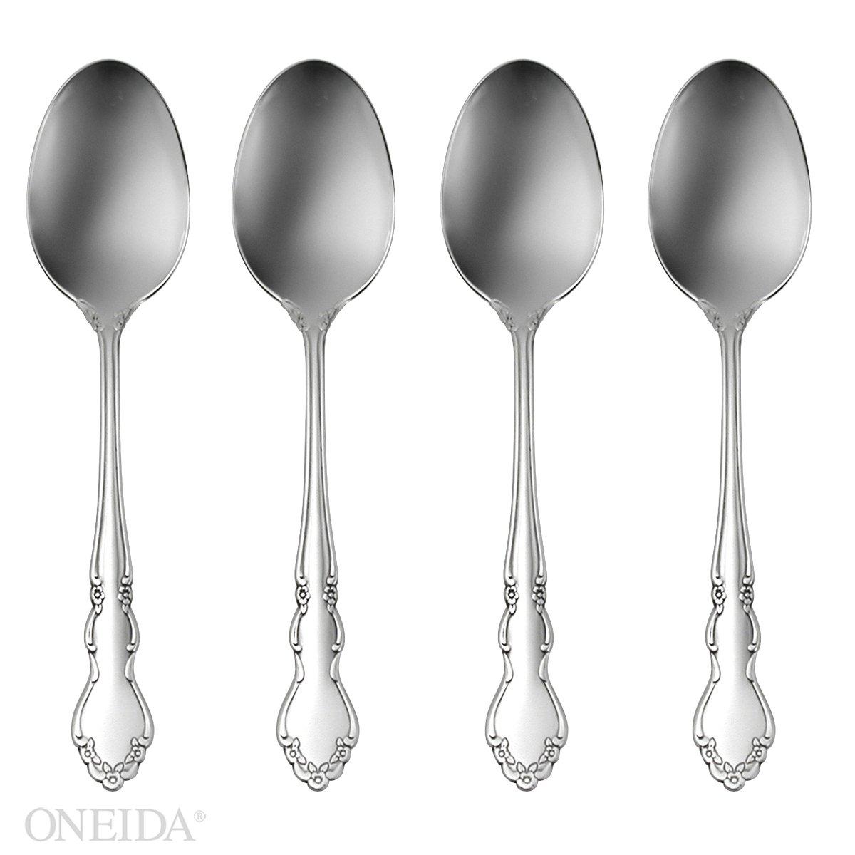 Oneida Dover Fine Flatware Set, 18/10 Stainless, Set of 4 Dinner Spoons by Oneida