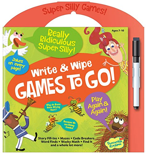 Peaceable Kingdom Really Ridiculous Super Silly Write and Wipe Games To Go! Activity Book (Toys For Travel Airplane)