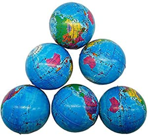 Sohapy 2.48'' Mini Squeezable Globe Stress Balls,Tension Reliver Balls,Party Favor,Soft PU Globe Ball,Earth Pattern,Party Toys