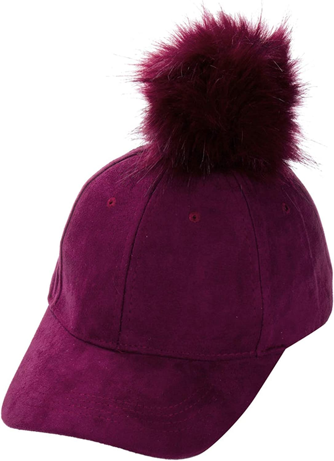Women Faux Fox Fur Pompom Ball Suede Cap Hip Hop Hat Winter Warm Single Ball Patchwork Baseball Hat Caps