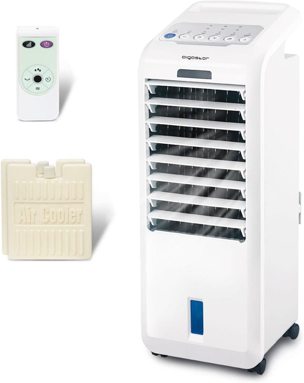 Aigostar Koud 33JTL - Climatizador evaporativo con mando a distancia, 55W, oscilante, 3 modos y 3 velocidades, temporizador 7 h, humidificador de aire, 2 cajas hielo, depósito 5 l. Diseño exclusivo