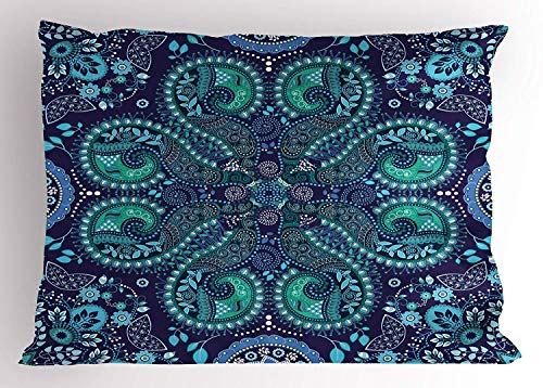 Jbralid Paisley Indian Inspired Decoration with Ivy Flowers Round Shapes Art Indigo Teal Cadet Blue Slate Blue Pillow Cover Cotton Linen Indoor Decor Throw Pillow Case 16x24 in
