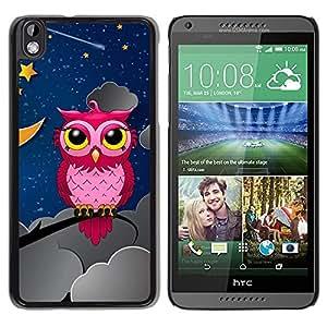 TopCaseStore / la caja del caucho duro de la cubierta de protección de la piel - Owl Pink Big Eyes Stars Night Sky Drawing Art - HTC DESIRE 816