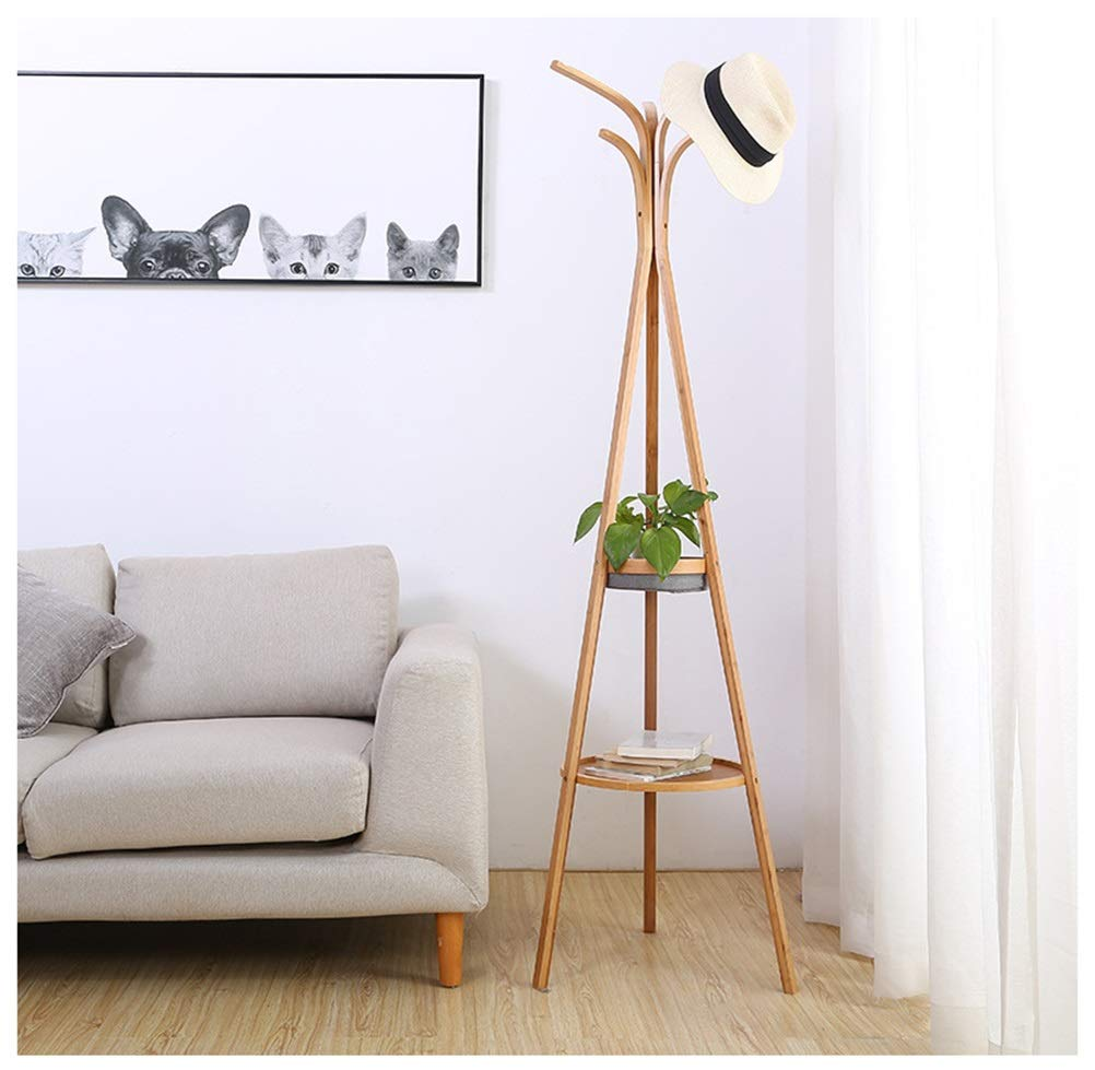 Qi_Hallway Furniture Standing Coat Rack, Coat Stand with Storage Shelves, Clothes Hanging Rail and Hooks, Space Saving in Hallway and Living Room Hall Trees Standing Coat Racks