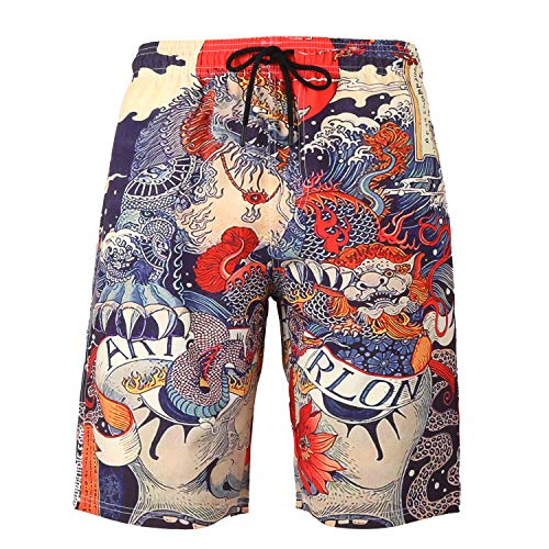 Dragon Swim Trunks (Honeystore Men's 3D Printed Swim Trunks Quick Dry Sports Beachwear Board Shorts 102-N002-Dragon)