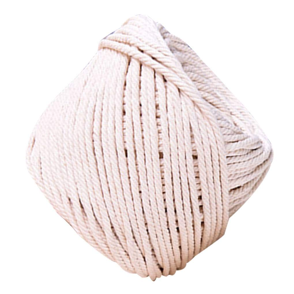 Cocoray High Strength Round Flat Tying Thread Rope Biege Twist Cotton Cords for Home DIY Handmade Garment Craft 5mm&90m
