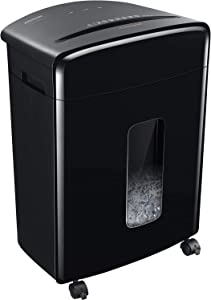 Bonsaii Updated 15-Sheet Cross-Cut Paper Credit Card Shredder for Office with 5.3 Gallon Pullout Basket and 4 Casters, 30 Minutes Running Time, Black (C221-A)