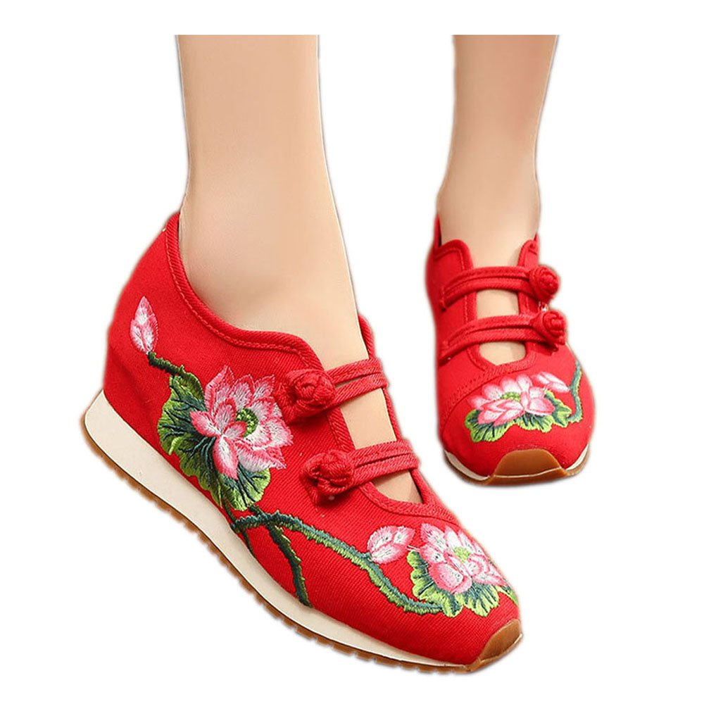Womens Canvas Lotus Embroidered Cloth Shoes Increased Flats Casual Walking Sneakers Fashion Traveling Shoes B01M23TO9L 6 B(M) US|Red