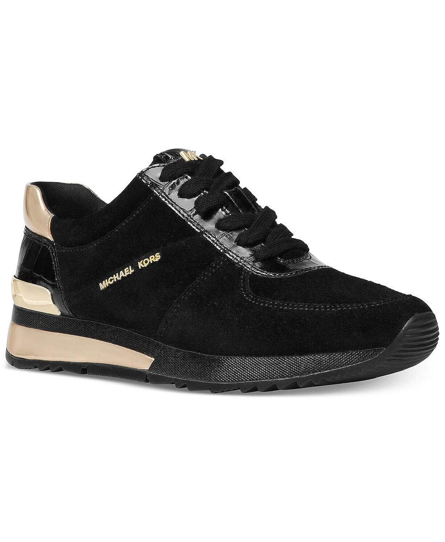 36714e0c46954 Michael Kors MK Women's Allie Wrap Trainers Shoes Sneakers Suede Black/Gold