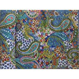 Trade Star Handmade Paisley Printed Kantha Quilt, Twin Size Kantha Bedding, Indian Cotton Bedspread, Bohemian Kantha Throw, Floral Bed Cover