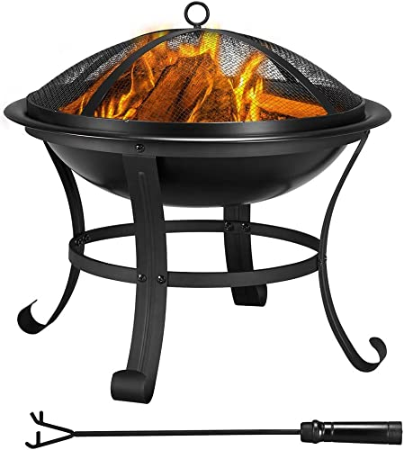 Topeakmart 22inch Fire Pit Outdoor Fireplace Portable BBQ Firebowl