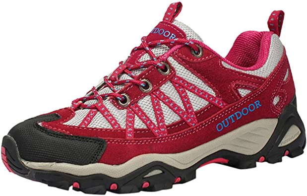 Sillor - Zapatillas de Senderismo para Mujer y Hombre, Transpirables, Ligeras, Antideslizantes, Resistentes al Desgaste, Grandes tamaños, para Exteriores, Color Rojo, Talla 36 EU: Amazon.es: Zapatos y complementos